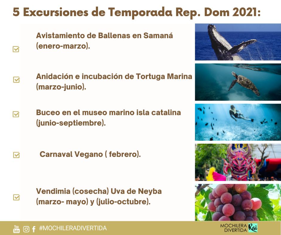 5 Excursiones de Temporada en REP.DOM.
